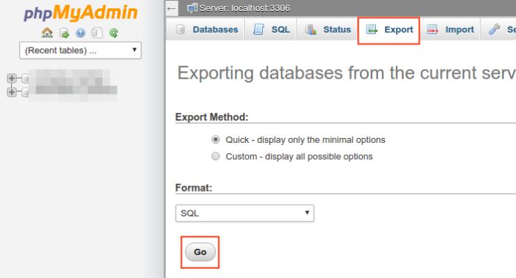 Exportar base de datos WordPress