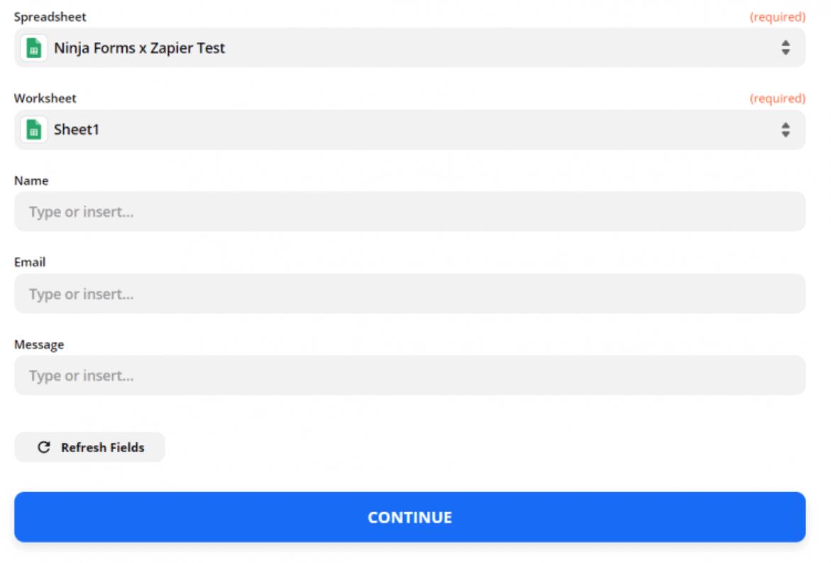 Zapier - selecionar Google Sheet - Ninja Forms