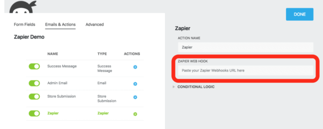 Zapier Web Hook Field - WordPress - Ninja Forms